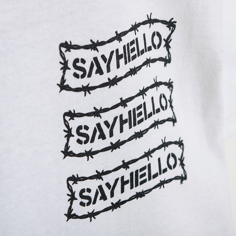 Say Hello Barbed Wire Logo T-Shirt - White T-Shirt - CARTOCON