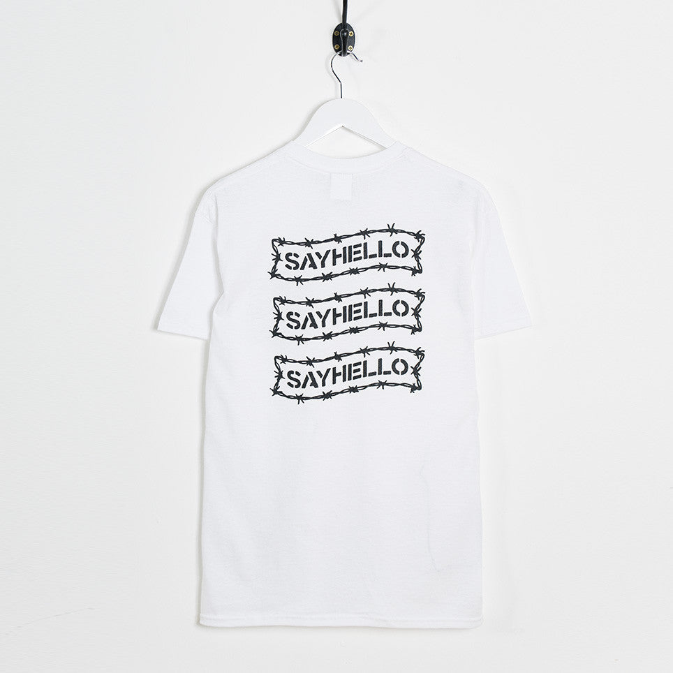 Say Hello Barbed Wire Logo T-Shirt - White - 4