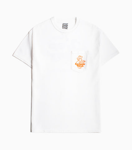 Sayhello Hang Loose Pocket T-Shirt - White T-Shirt - CARTOCON