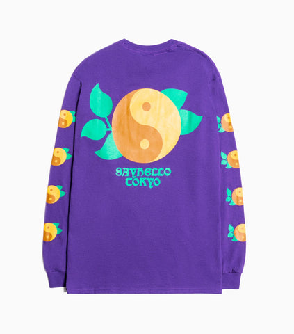Sayhello Yin and Yang Long Sleeve T-Shirt - Purple Long Sleeve T-Shirt - CARTOCON