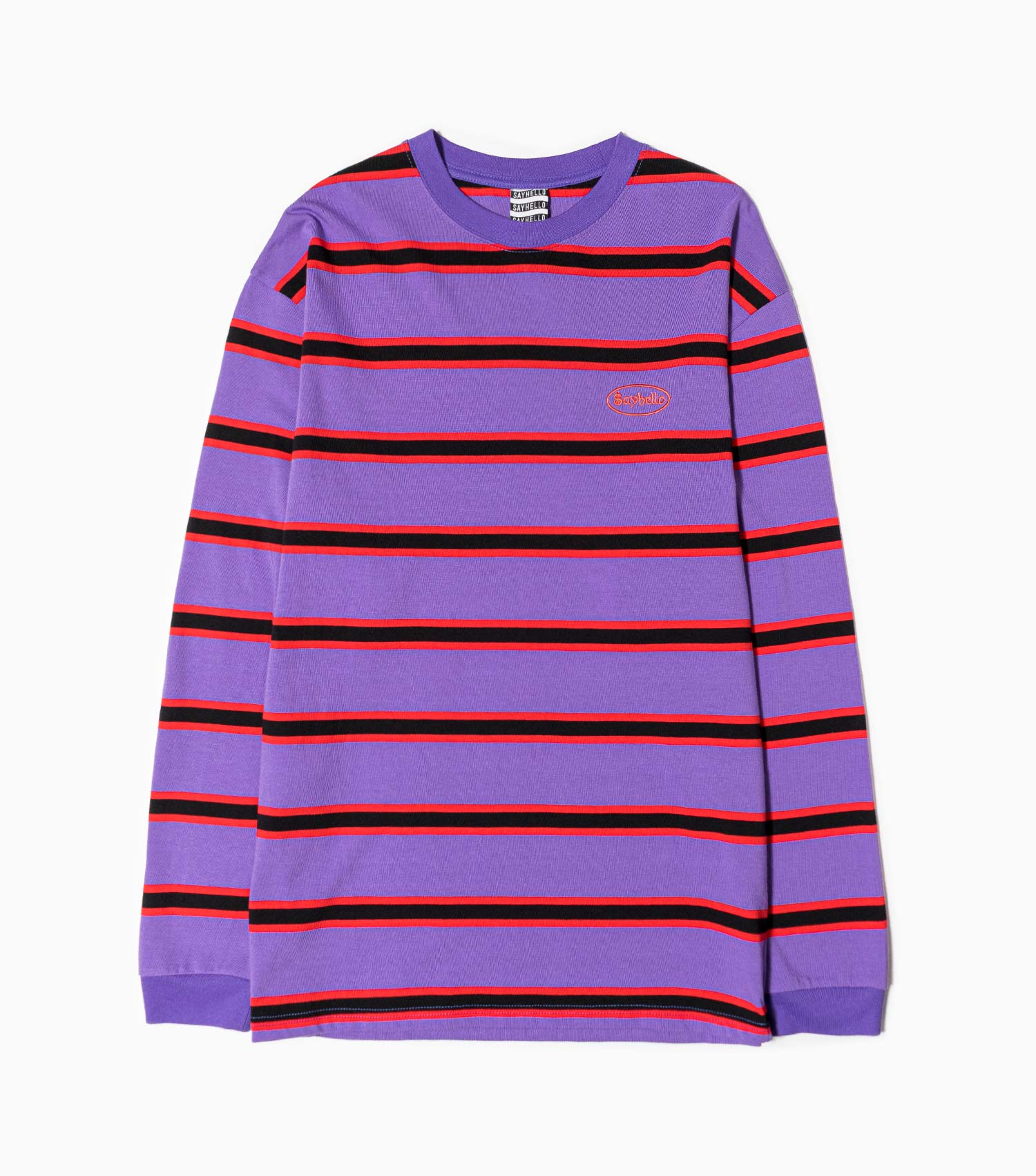 Sayhello Cash Logo Border Long Sleeve T-Shirt - Purple
