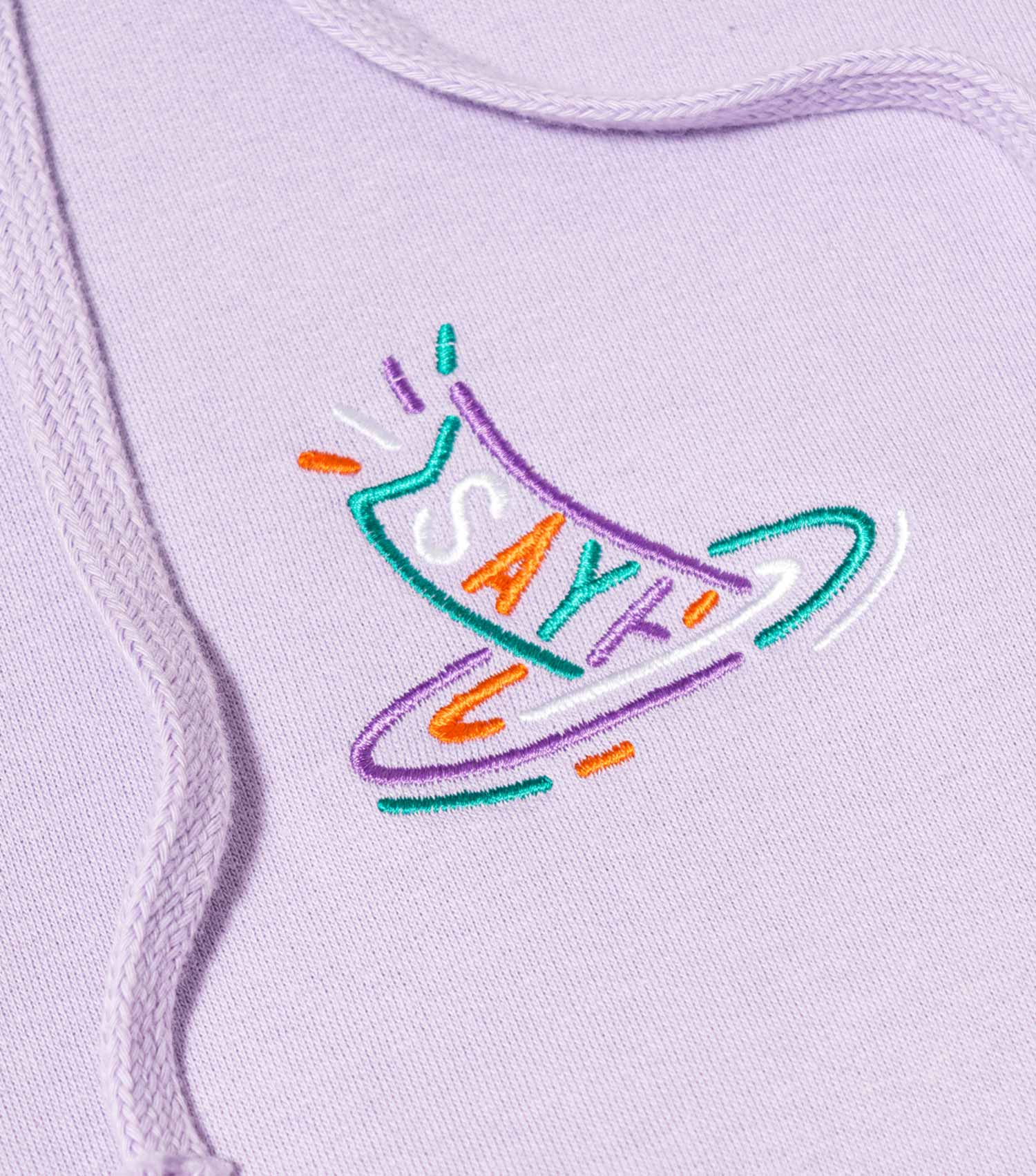 Sayhello G.D.T.S Logo Embroidery Hoodie - Lavender