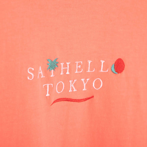 Say Hello Holiday Embroidered Garment Dyed T-Shirt - Orange T-Shirt - CARTOCON