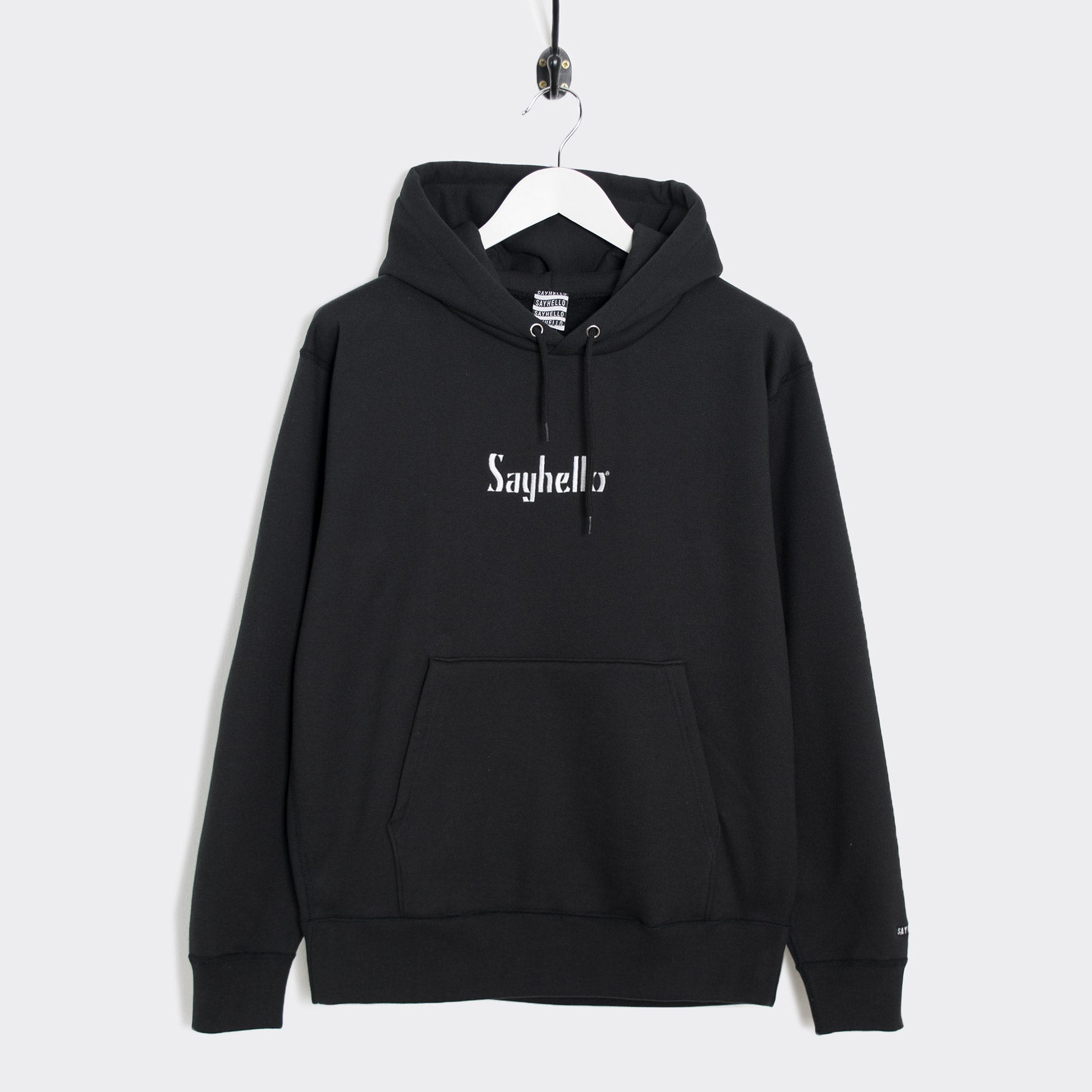 Sayhello Classic Logo Hooded Sweatshirt - Black Hoody - CARTOCON