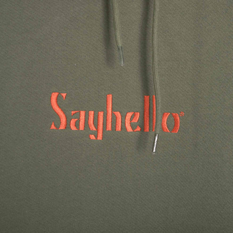 Sayhello Classic Logo Hooded Sweatshirt - Forest Green Hoody - CARTOCON