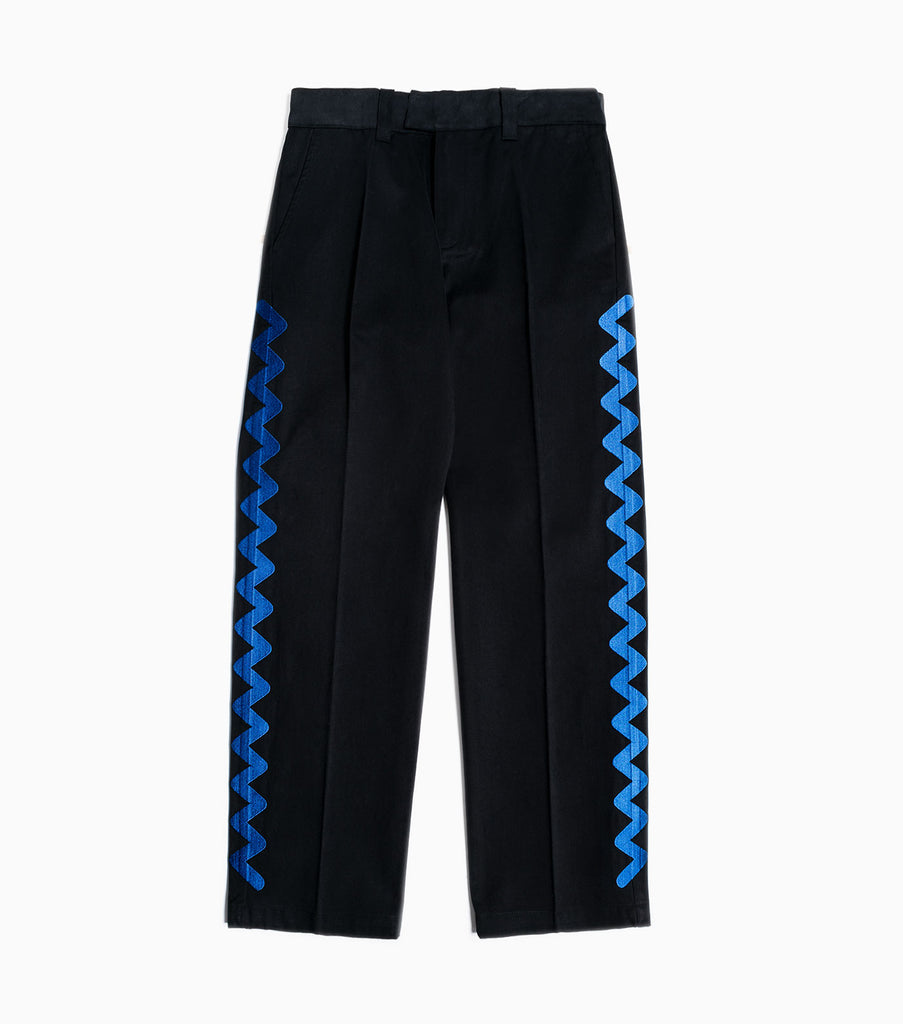 Soulland Ernie Heavyweight Embroidered Trousers - Black Trousers - CARTOCON