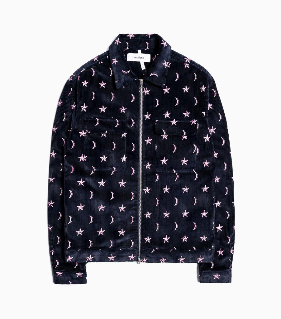 Soulland Percy Embroidered Cord Jacket - Dark Navy