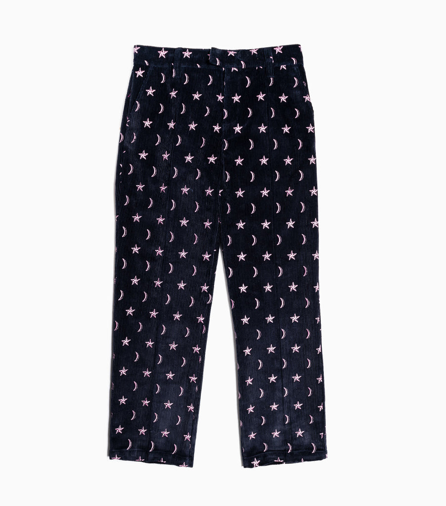 Soulland Billy Embroidered Cord Trousers - Dark Navy