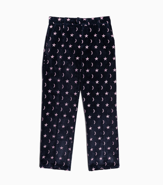 Soulland Billy Embroidered Cord Trousers - Dark Navy Trousers - CARTOCON