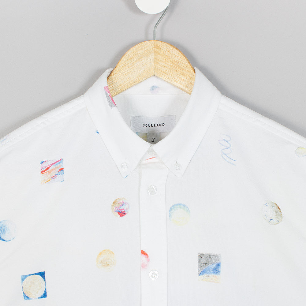 Soulland Mathias Shirt - White/Multi  - CARTOCON