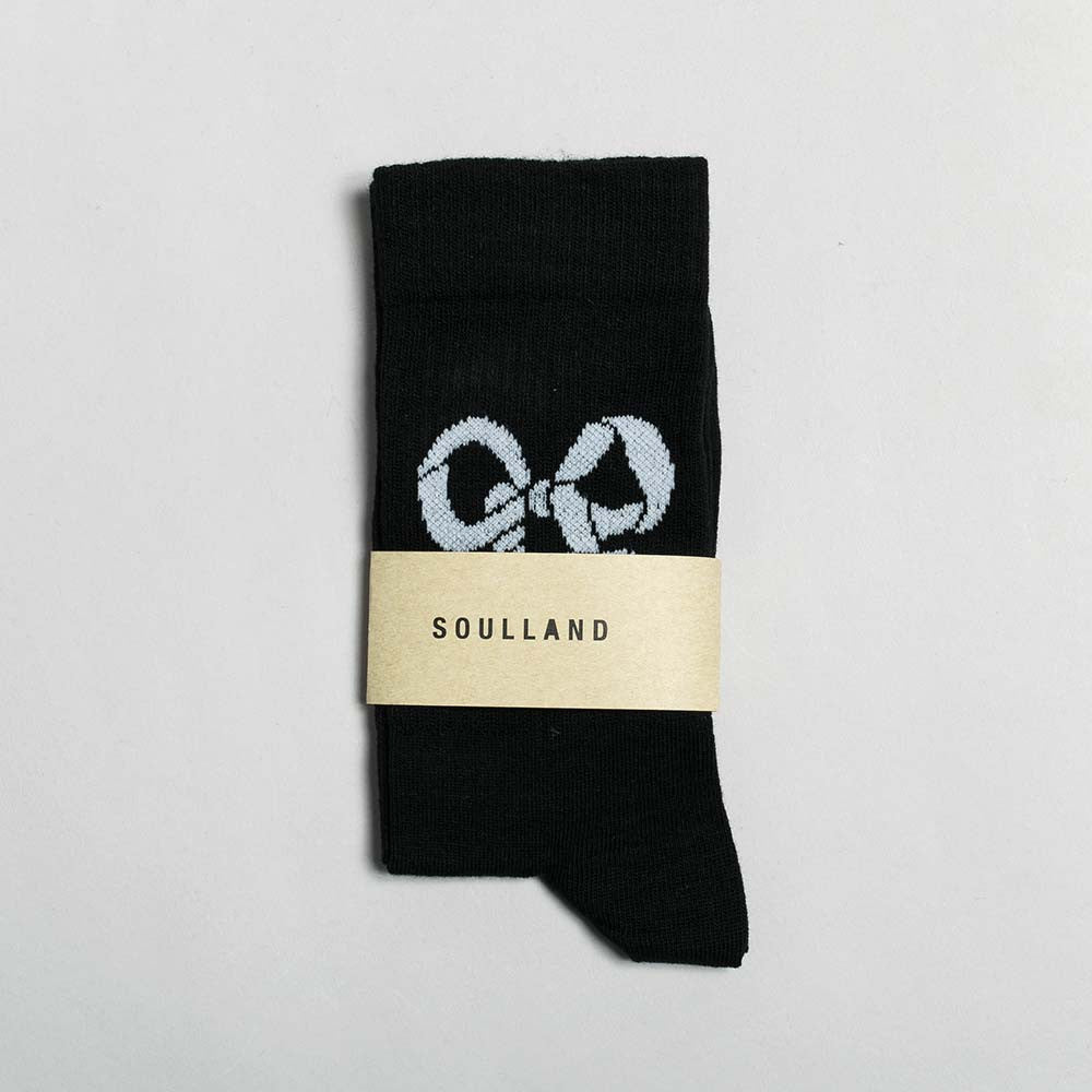 Soulland Ribbon Tennis Sock – Black - 1