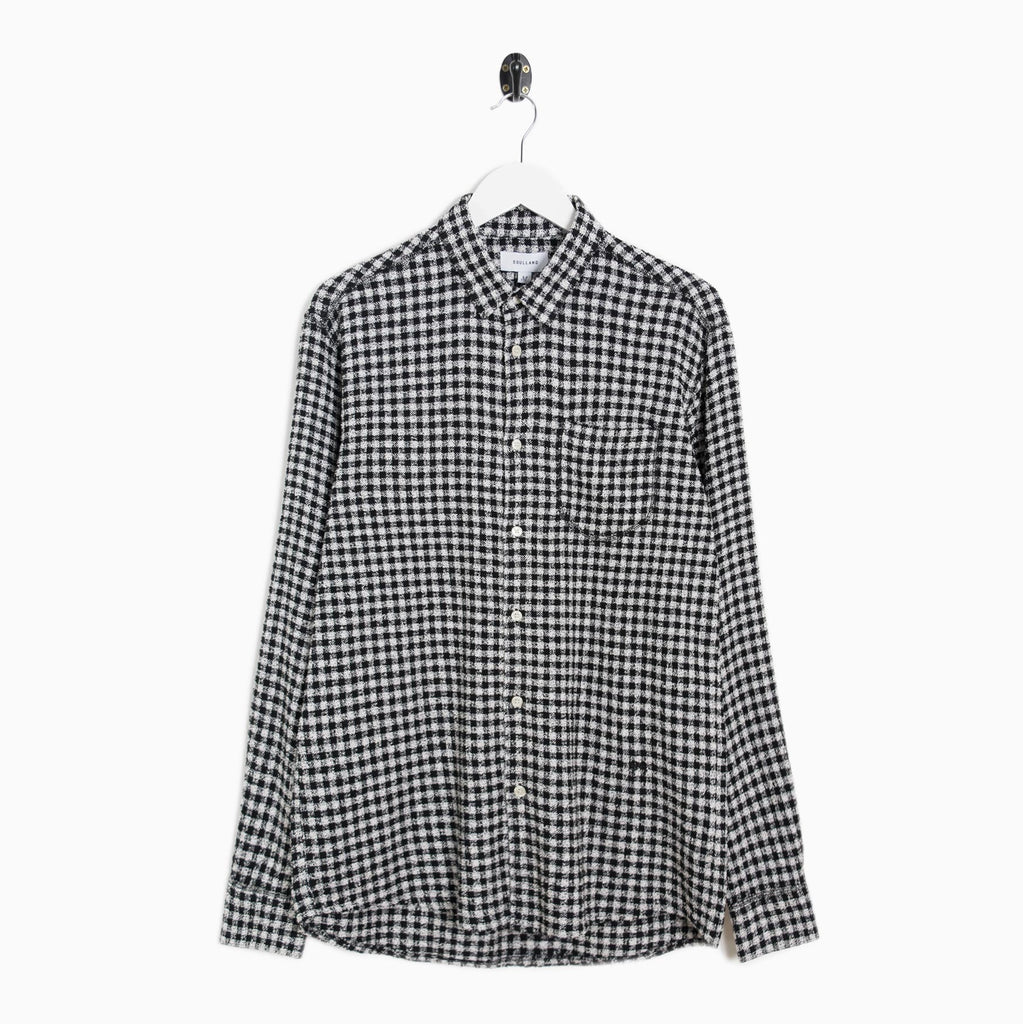 Soulland Green Checked Textured Shirt - Black/White Shirt - CARTOCON