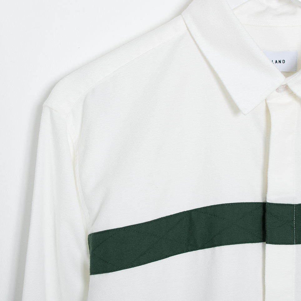 Soulland Asklund Stitched Tape Shirt - Off White/Green - 3
