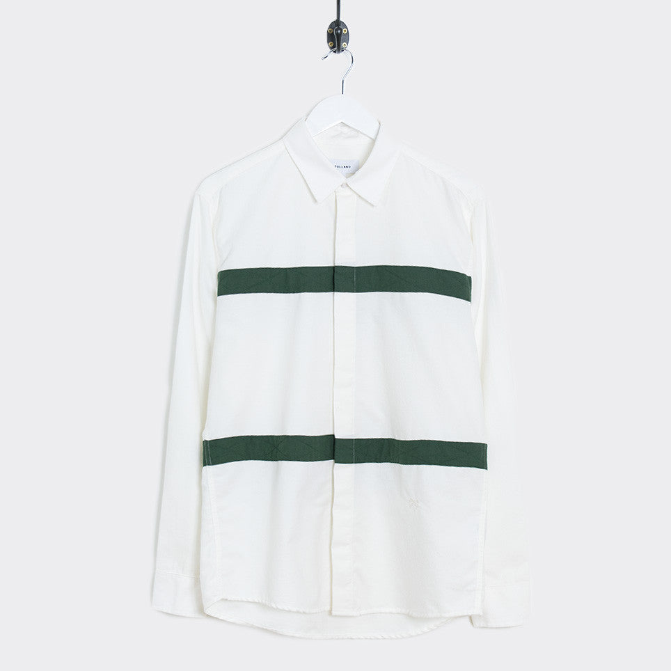 Soulland Asklund Stitched Tape Shirt - Off White/Green - 1