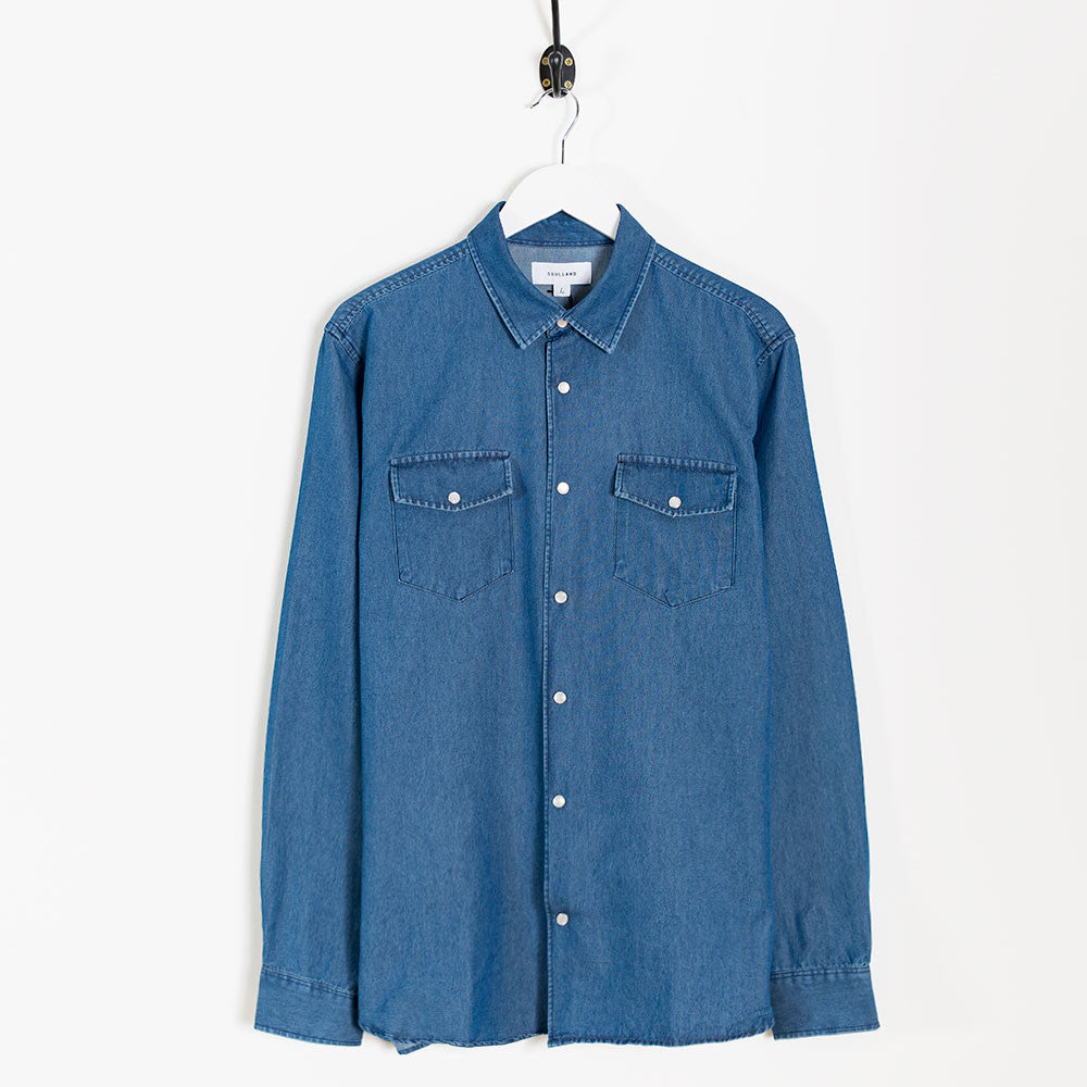 Soulland Marius Shirt – Washed Denim  - CARTOCON