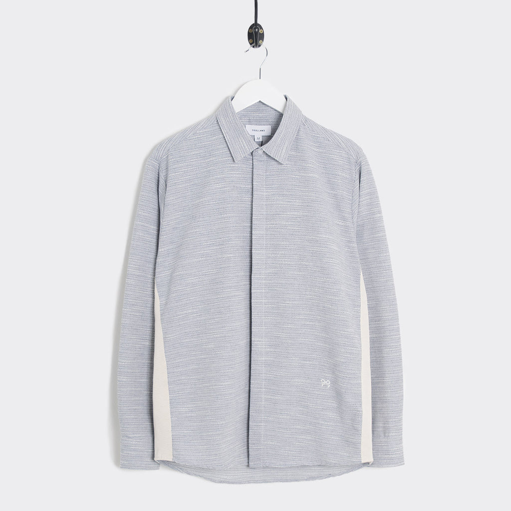 Soulland Farndon Grosgrain Tape Shirt - Grey