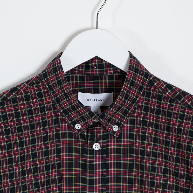 Soulland Goldsmith Oxford Shirt – Black/Red Check - 2