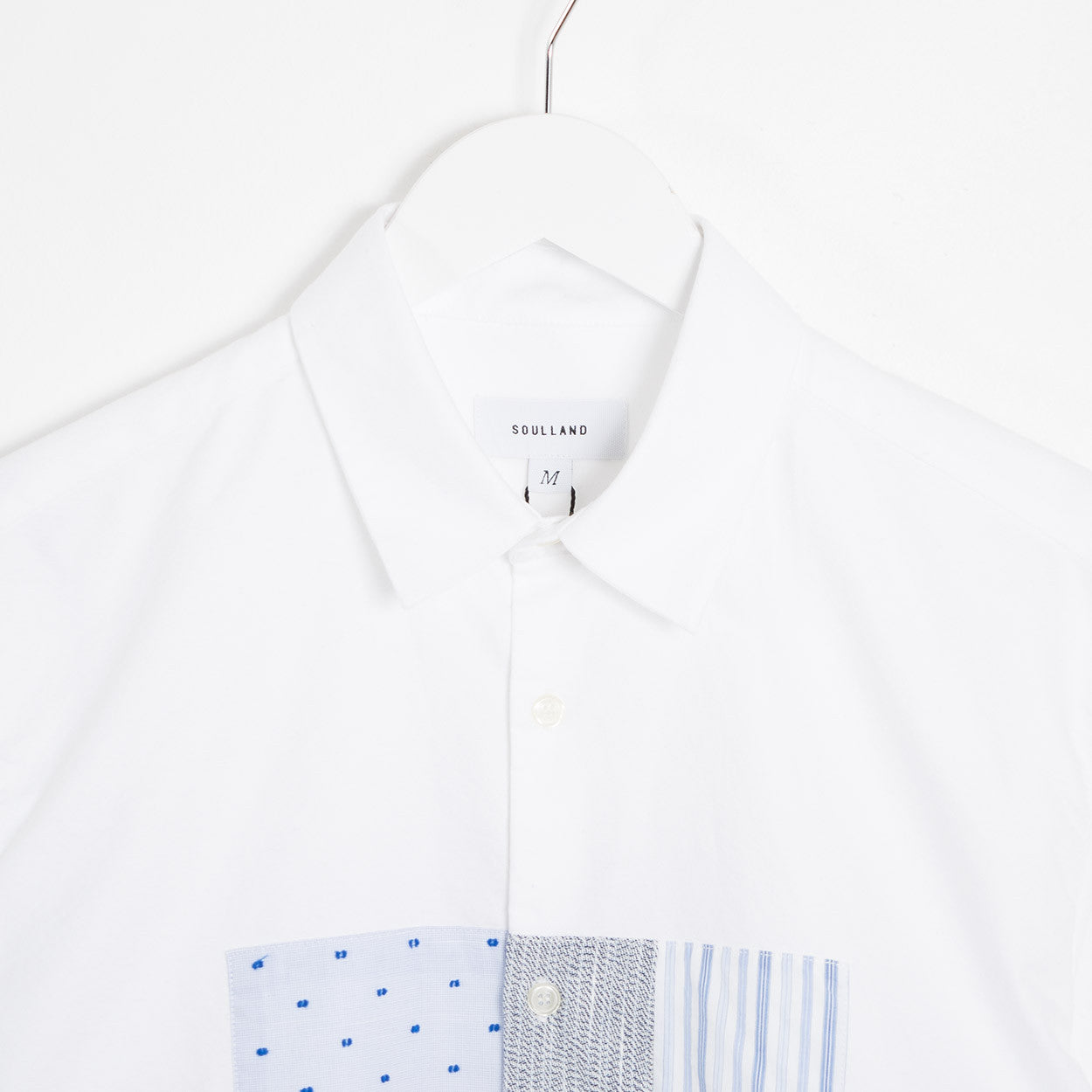 Soulland Harrison Oxford Shirt w. Patchwork - White Shirt - CARTOCON