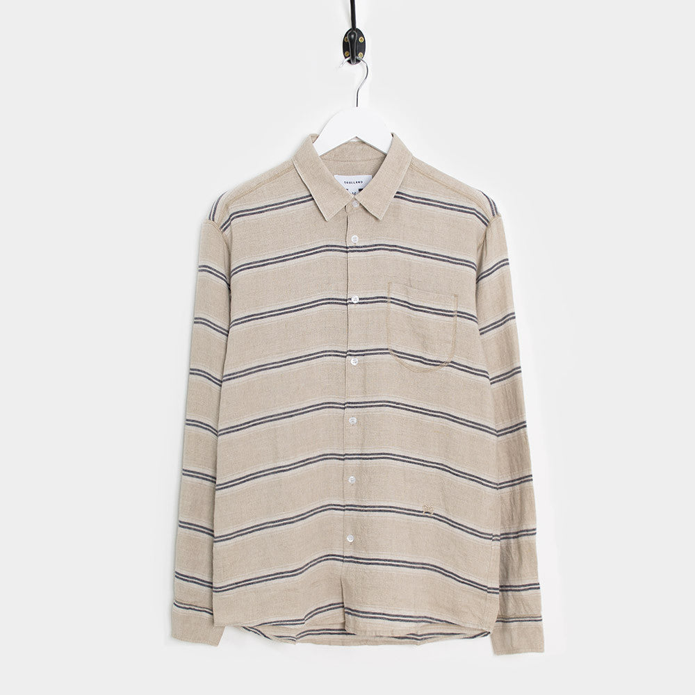 Soulland Logan Shirt - Beige/Navy - 1
