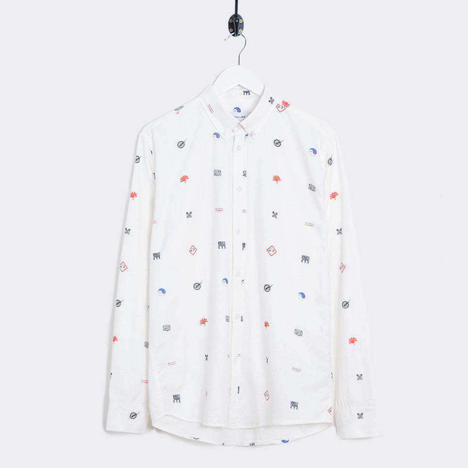 Soulland Vyl Button Down Shirt - Off White/Multi - 1