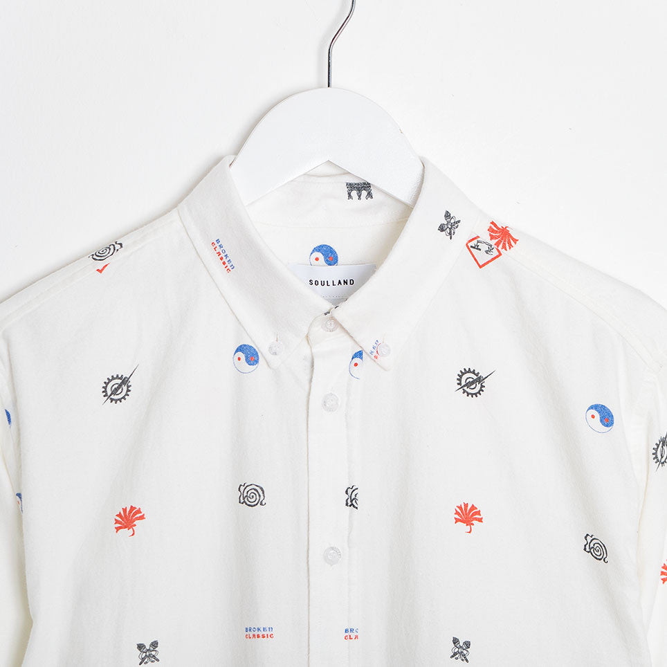 Soulland Vyl Button Down Shirt - Off White/Multi - 3
