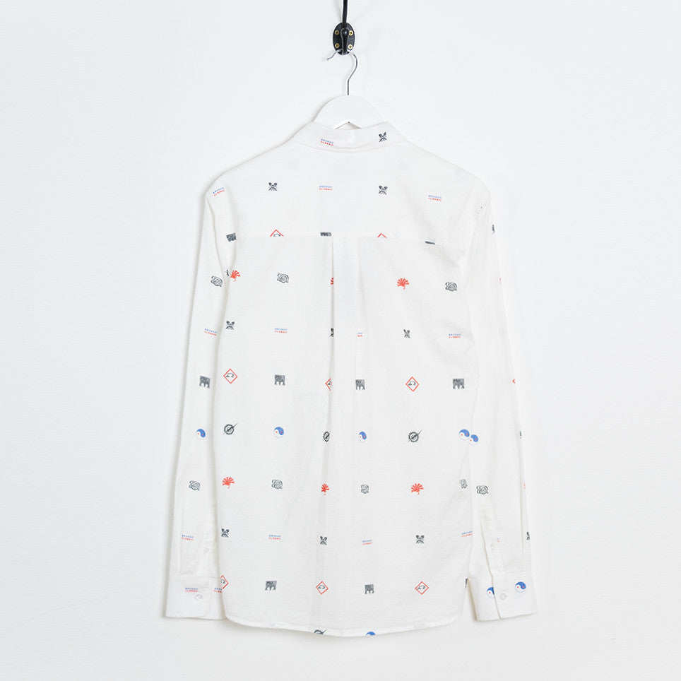 Soulland Vyl Button Down Shirt - Off White/Multi - 2