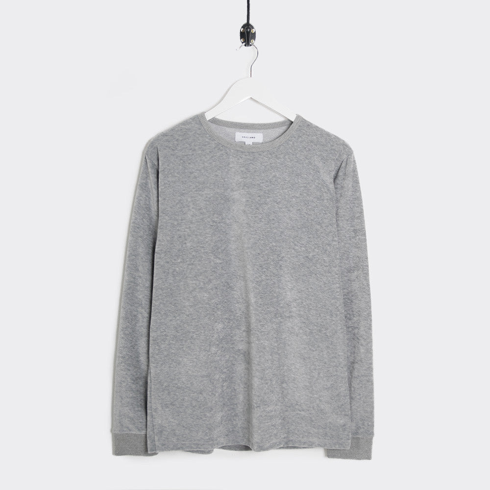 Soulland Ingledew Velour Long Sleeve T-Shirt - Grey - 1