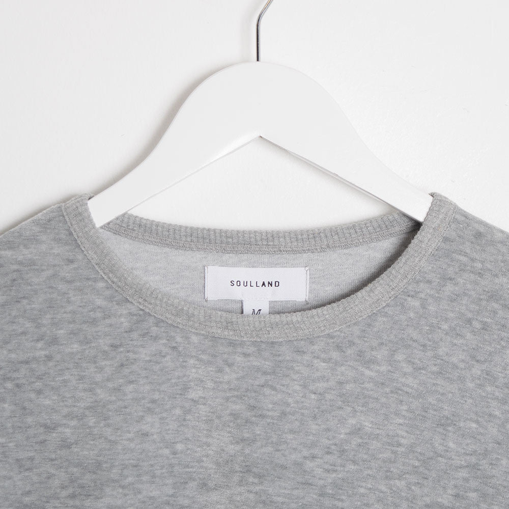 Soulland Ingledew Velour Long Sleeve T-Shirt - Grey - 2
