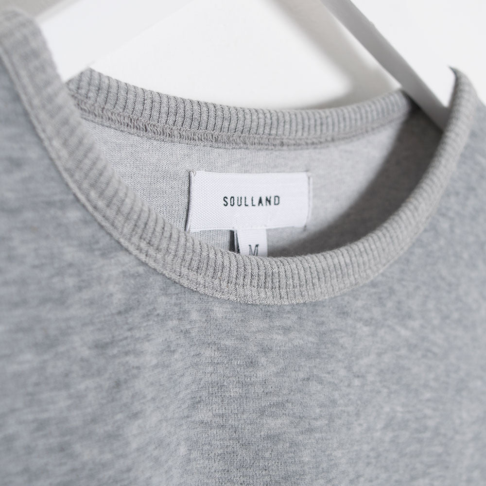 Soulland Ingledew Velour Long Sleeve T-Shirt - Grey  - CARTOCON