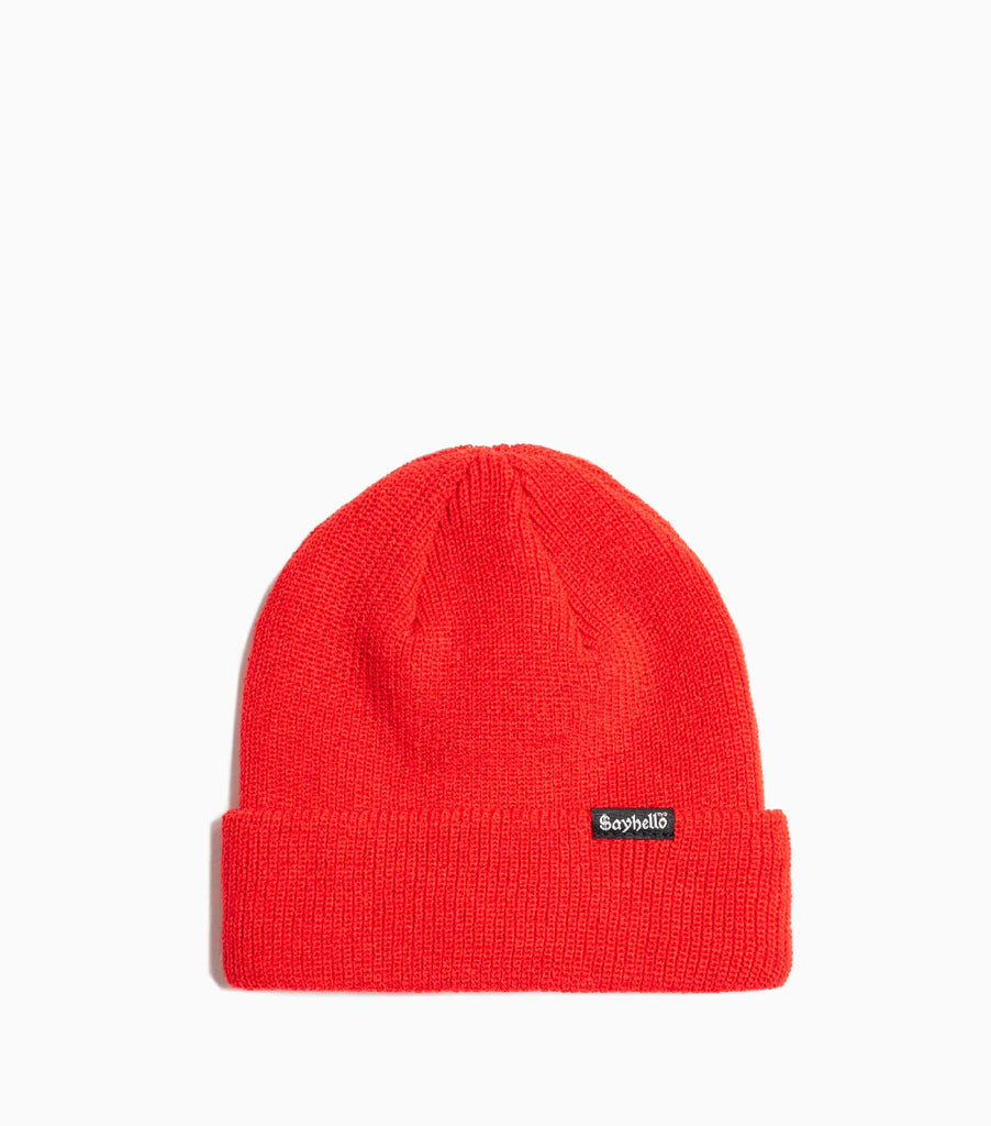 Sayhello Cash Logo Knit Cap Beanie - Cherry Red Hat - CARTOCON