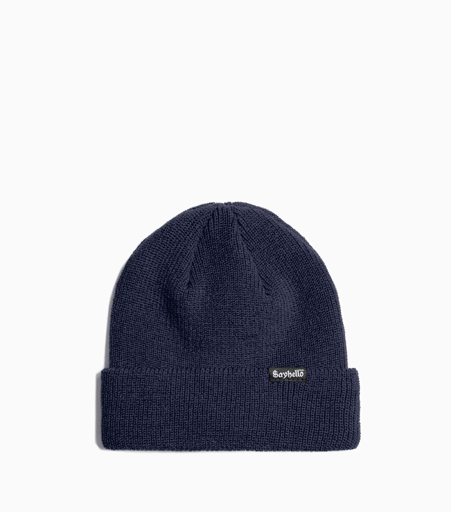 Sayhello Cash Logo Knit Cap Beanie - Night Blue Hat - CARTOCON