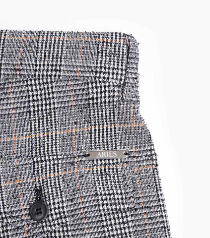 Aries Crepe Check Suit Tailored Trousers - Black/Orange Trousers - CARTOCON
