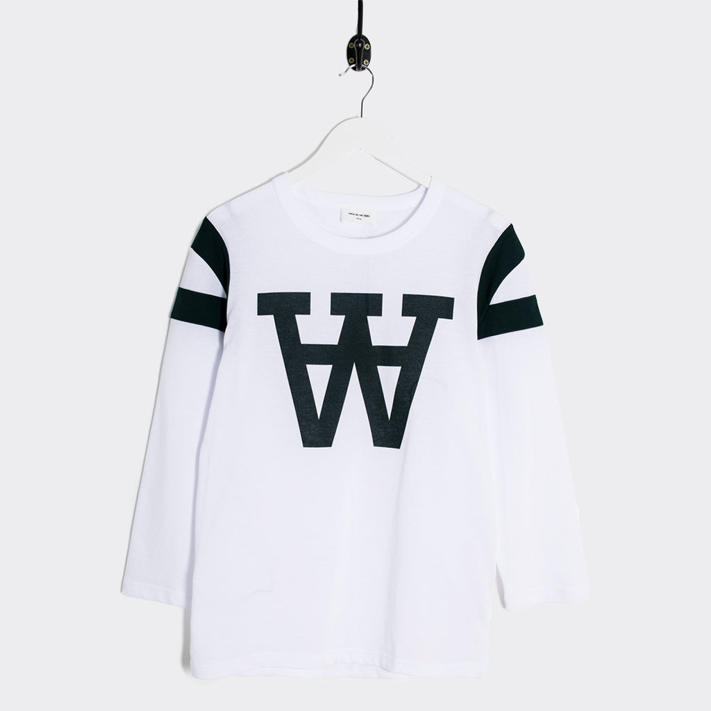 Wood Wood William AA Logo Longsleeve - White