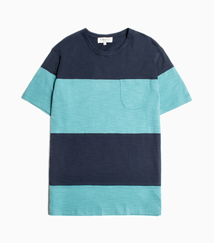 YMC Stripe Slub Baja T-Shirt - Navy/Blue T-Shirt - CARTOCON