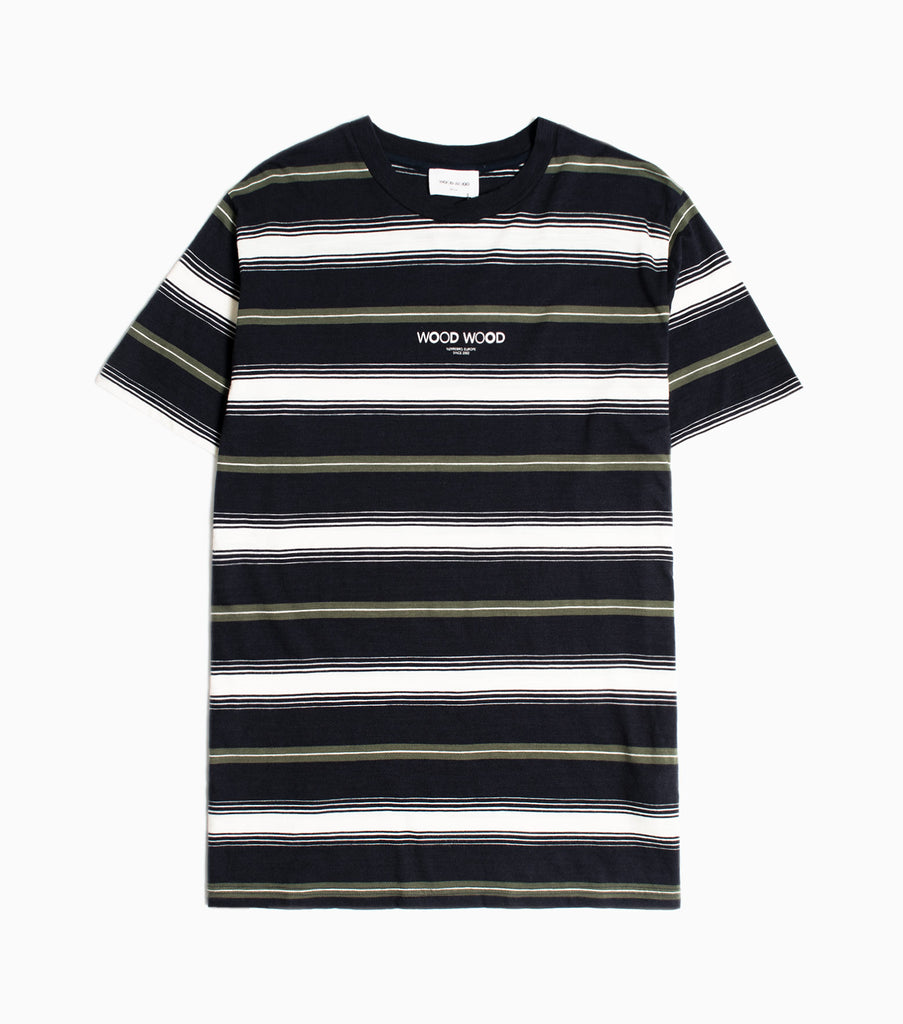 Wood Wood Perry Striped T-shirt - Navy Stripe