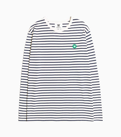 Wood Wood Double A Mel Striped Long Sleeve T-Shirt - Off White/Navy Stripe Long Sleeve T-Shirt - CARTOCON