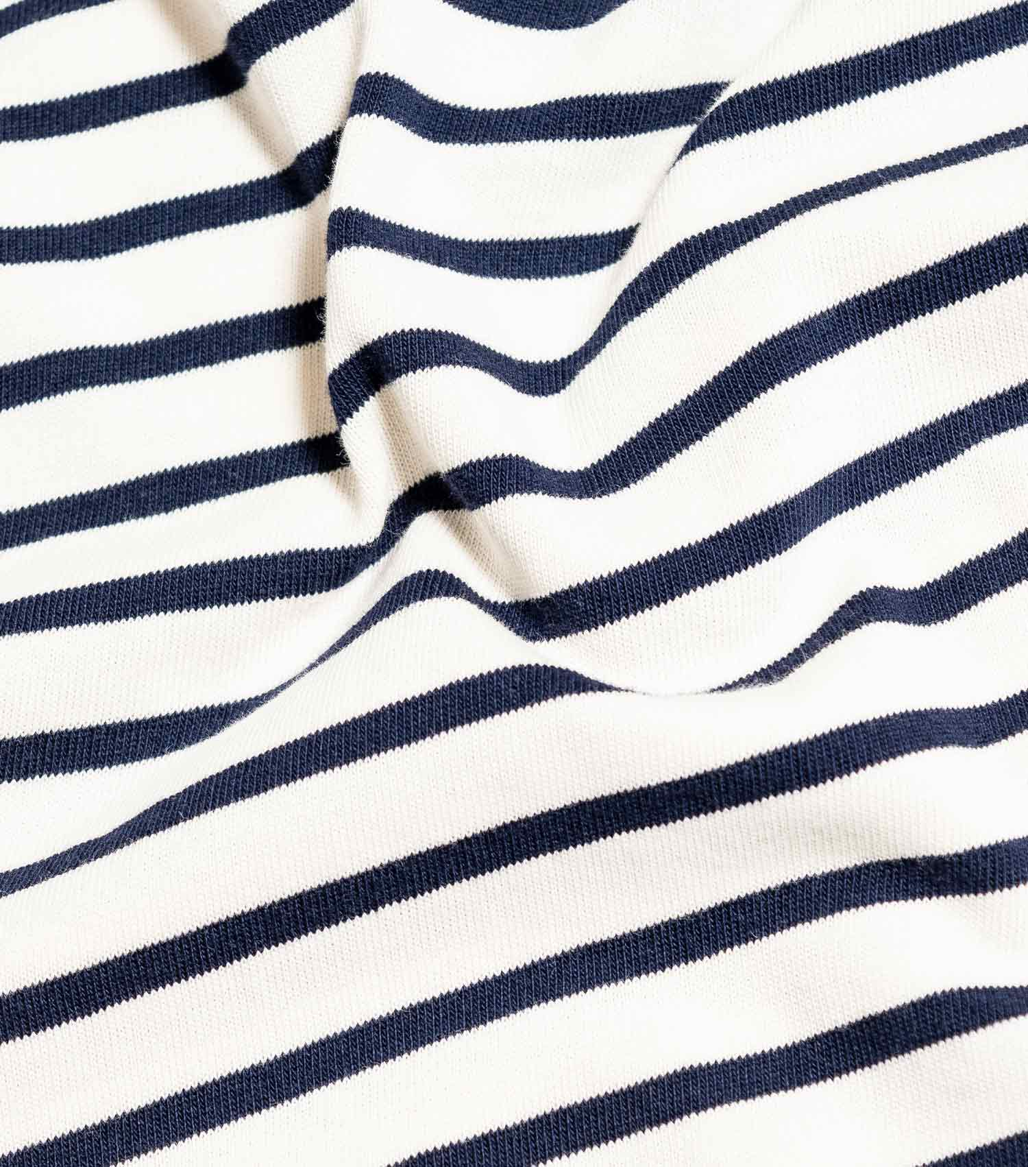Wood Wood Double A Mel Striped Long Sleeve T-Shirt - Off White/Navy Stripe