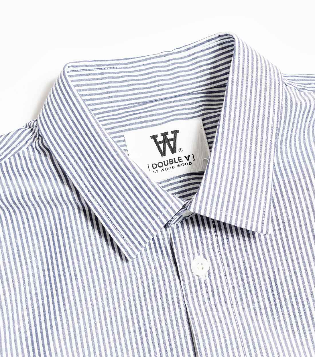 Wood Wood Double A Kay Shirt - White/Navy Stripe