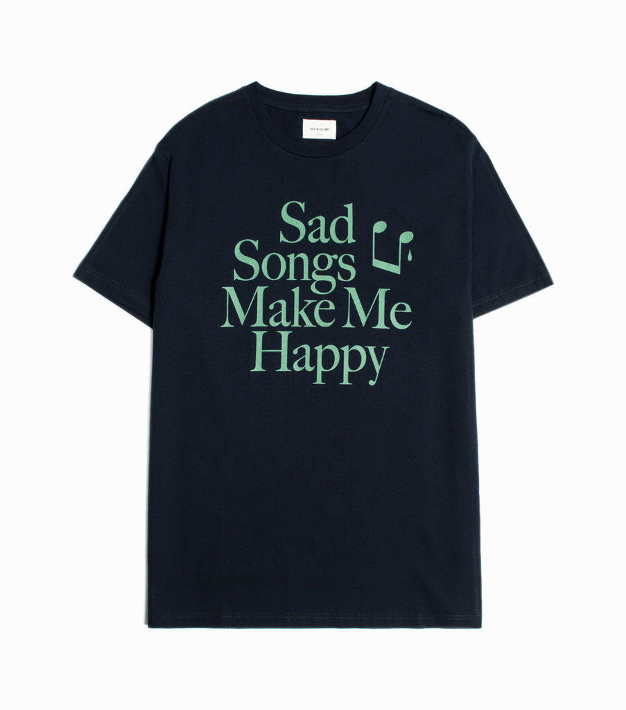 Wood Wood Make Me Happy T-shirt - Navy