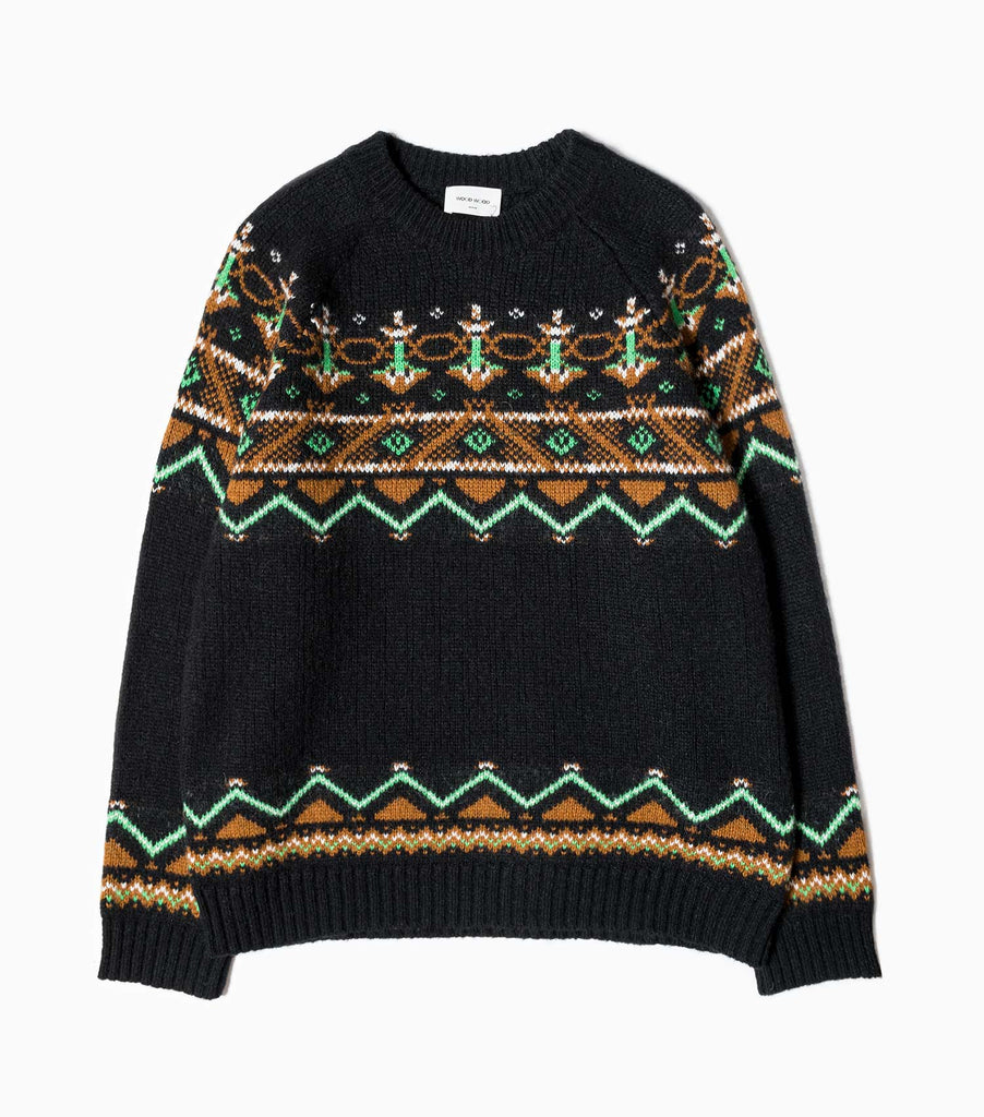 Wood Wood Gunther Knitted Sweater - Black Jacquard