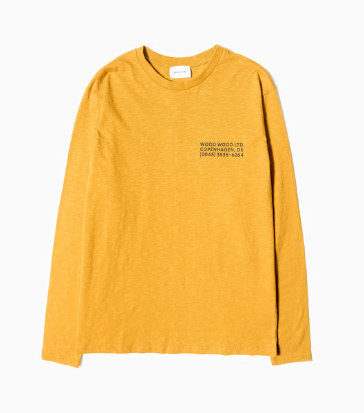 Wood Wood Peter Long Sleeve T-Shirt - Mustard T-Shirt - CARTOCON