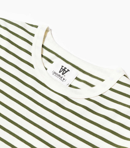 Wood Wood Double A Mel Long Sleeve T-Shirt - Off White/Green T-Shirt - CARTOCON