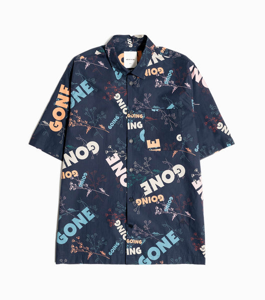 Wood Wood Thor All Over Printed Shirt - Navy Blue Shirt - CARTOCON