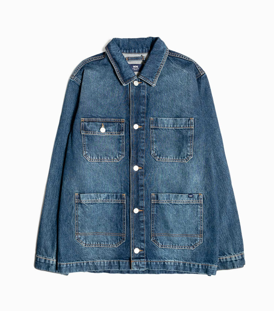 Wood Wood Gavin 14oz Denim Work Jacket - Worn Blue