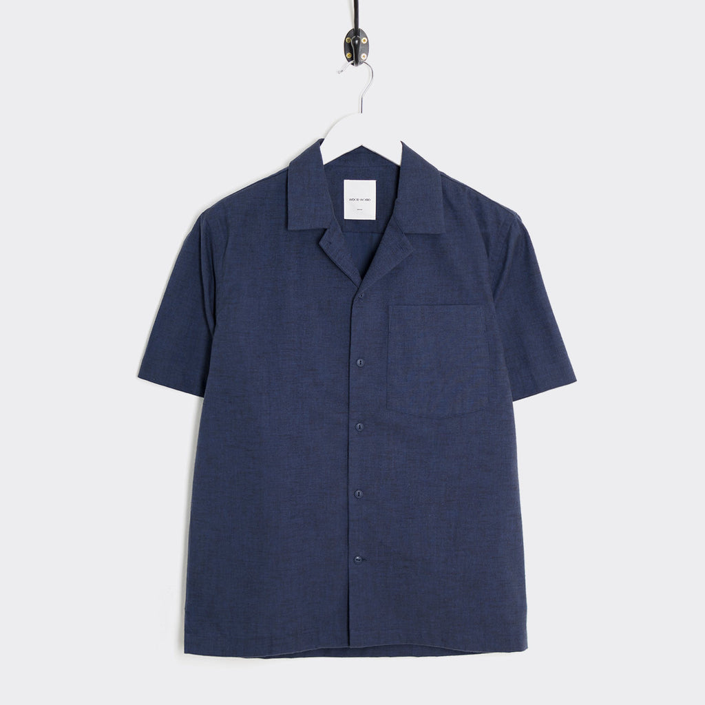 Wood Wood Brandon Short Sleeve Shirt - Navy