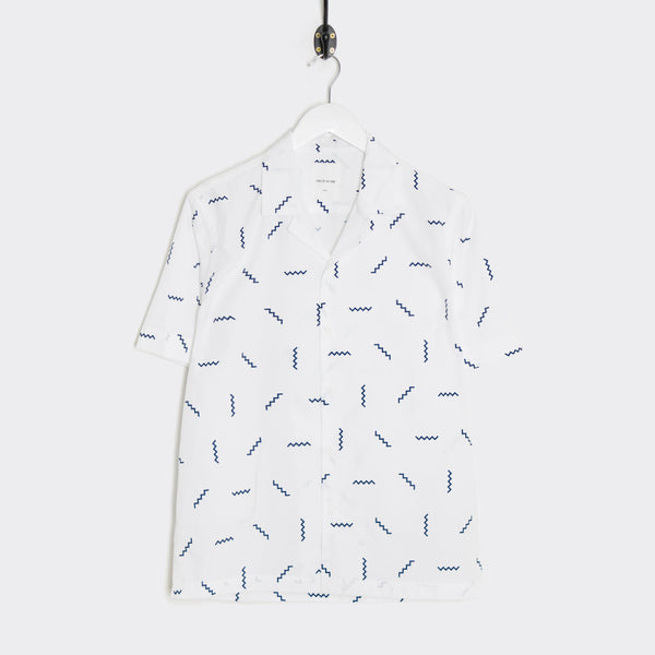 Wood Wood Brandon Short Sleeve Shirt - White/Stairs