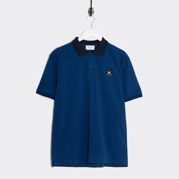 Wood Wood Brian Short Sleeve Polo - Estate Blue