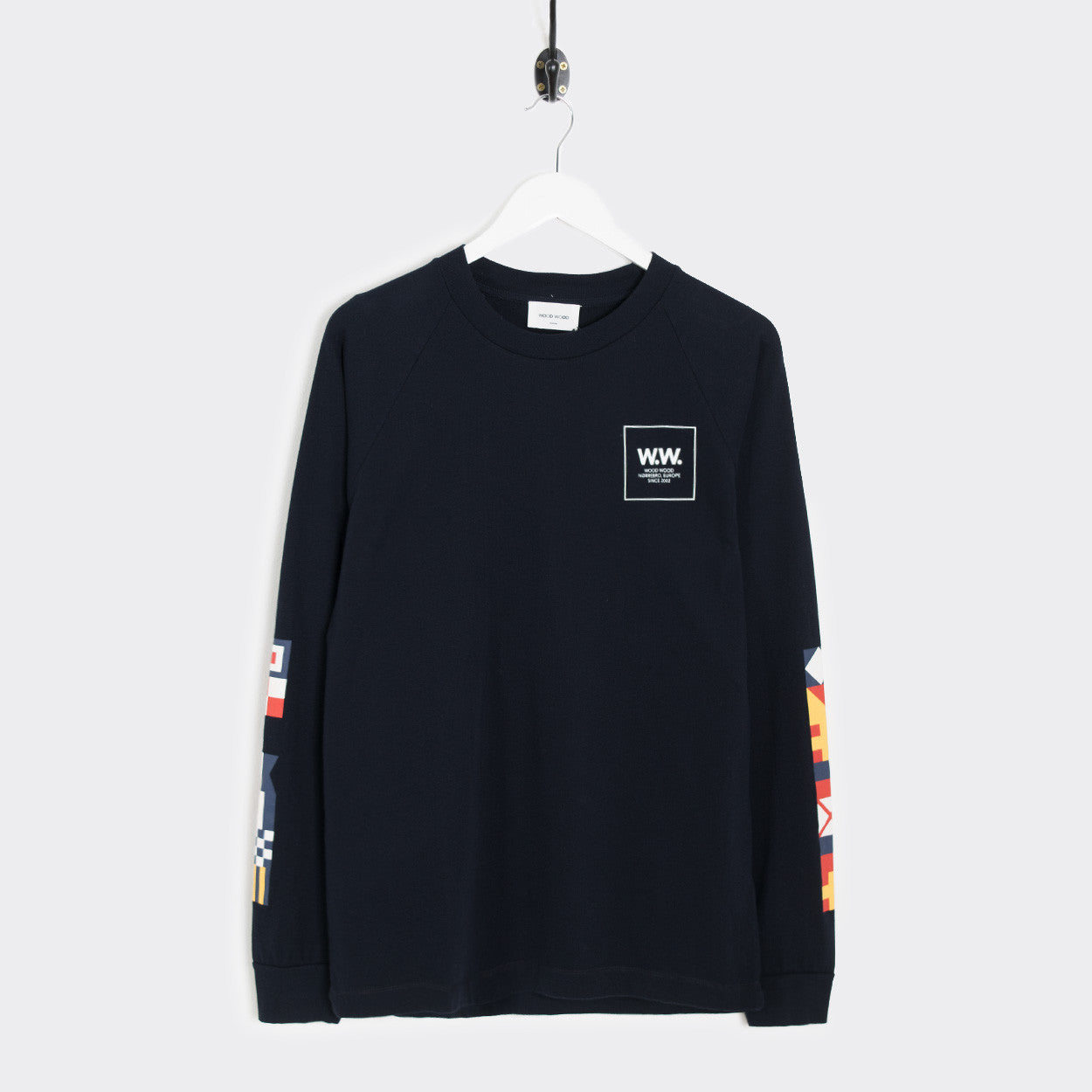 Wood Wood Han Long Sleeve T-Shirt - Navy