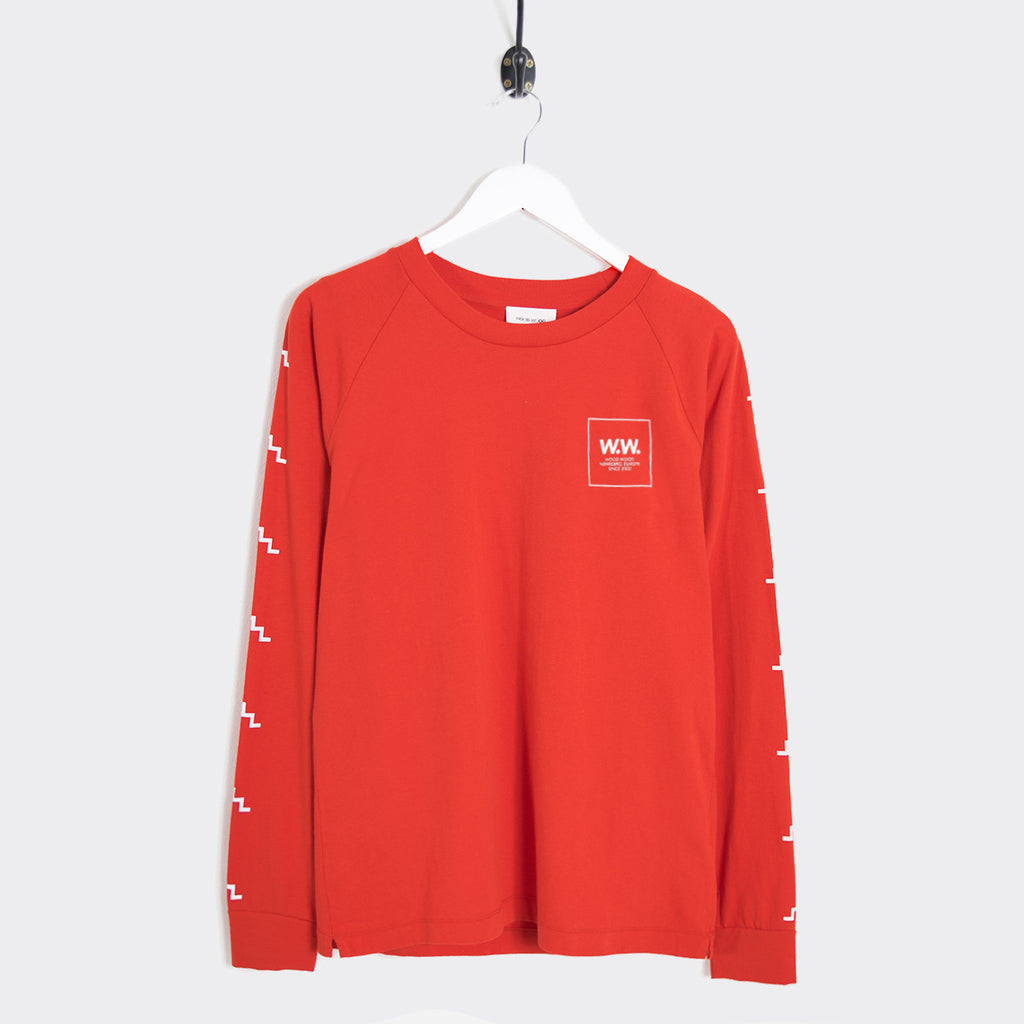 Wood Wood Han Logo Longsleeve - Burnt Red