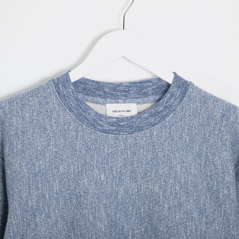 Wood Wood Larry Marl Sweatshirt - Estate Blue Melange  - CARTOCON